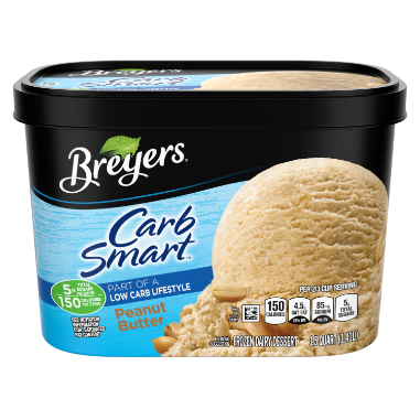 A 48 ounce tub of Breyers CarbSmart Peanut Butter front of pack