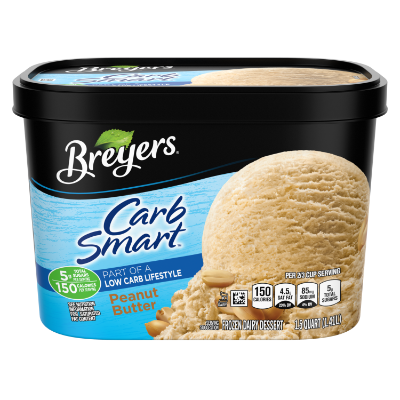 A 48 ounce tub of Breyers® CarbSmart™ Peanut Butter front of pack