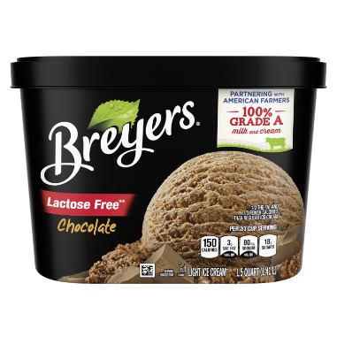 [A 48 ounce tub of Breyers® Lactose Free Chocolate front of pack, A 48 ounce tub of Breyers® Lactose Free Chocolate simple pack image, A 48 ounce tub of Breyers® Lactose Free Chocolate Nutritional Panel, A 48 ounce tub of Breyers® Lactose Free Chocolate Ingredient List, Gluten Free Logo, Kosher Certified Dairy logo, 100% Grade A Milk and Cream button, Breyers® pledge statement]