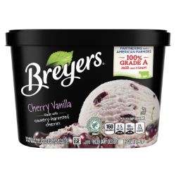 [A 48 ounce tub of Breyers® Cherry Vanilla front of pack, A 48 ounce tub of Breyers® Cherry Vanilla simple pack image, A 48 ounce tub of Breyers® Cherry Vanilla Nutritional Panel, A 48 ounce tub of Breyers® Cherry Vanilla Ingredient List, Gluten Free Logo, Kosher Certified Dairy logo, 100% Grade A Milk and Cream button, Breyers® pledge statement]