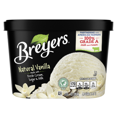 [A 48 ounce tub of Breyers® Natural Vanilla front of pack, A 48 ounce tub of Breyers® Natural Vanilla simple pack image, A 48 ounce tub of Breyers® Natural Vanilla Nutritional Panel, A 48 ounce tub of Breyers® Natural Vanilla  ingredient list, A 48 ounce tub of Breyers® Natural Vanilla barcode, A 48 ounce tub of Breyers® Natural Vanilla Back of Pack, Kosher Certified Dairy logo, 100% Grade A milk and cream logo, Rainforest Alliance certified vanilla logo, Breyers® pledge statement, Made with Non-GMO sourced ingredients logo, Gluten free logo]