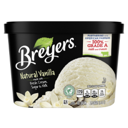 A 48 ounce tub of Breyers® Natural Vanilla Back of Pack