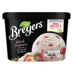 [A 48 ounce tub of Breyers® Natural Strawberry front of pack, A 48 ounce tub of Breyers® Natural Strawberry simple pack image, A 48 ounce tub of Breyers® Natural Strawberry Nutritional Panel, A 48 ounce tub of Breyers® Natural Strawberry ingredient list, Gluten Free Logo, Kosher Certified Dairy logo, 100% Grade A Milk and Cream button, Breyers® pledge statement, Made with Non-GMO sourced ingredients logo]