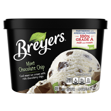 [A 48 ounce tub of Breyers® Mint Chocolate Chip front of pack, A 48 ounce tub of Breyers® Mint Chocolate Chip simple pack image, A 48 ounce tub of Breyers® Mint Chocolate Chip Nutritional Panel, A 48 ounce tub of Breyers® Mint Chocolate Chip ingredient list, Gluten Free Logo, Kosher Certified Dairy logo, 100% Grade A Milk and Cream button, Breyers® pledge statement, Made with Non-GMO sourced ingredients logo]