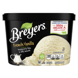 [A 48 ounce tub of Breyers® French Vanilla front of pack, A 48 ounce tub of Breyers® French Vanilla simple pack image, A 48 ounce tub of Breyers® French Vanilla Nutritional Panel, A 48 ounce tub of Breyers® French Vanilla ingredient list, Gluten Free Logo, Kosher Certified Dairy logo, 100% Grade A Milk and Cream button, Breyers® pledge statement, Rainforest Alliance certified vanilla logo]