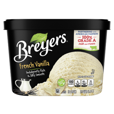 A 48 ounce tub of Breyers® French Vanilla front of pack