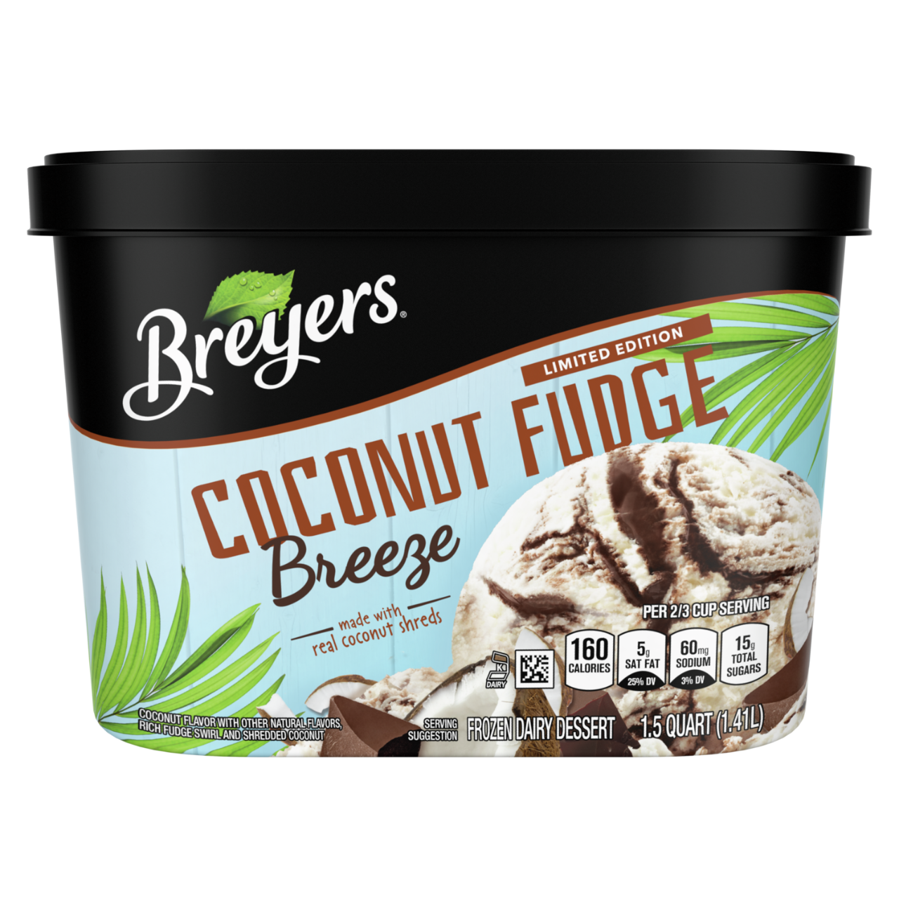 A 48 ounce tub of Breyers® Coconut Fudge Breeze front of pack