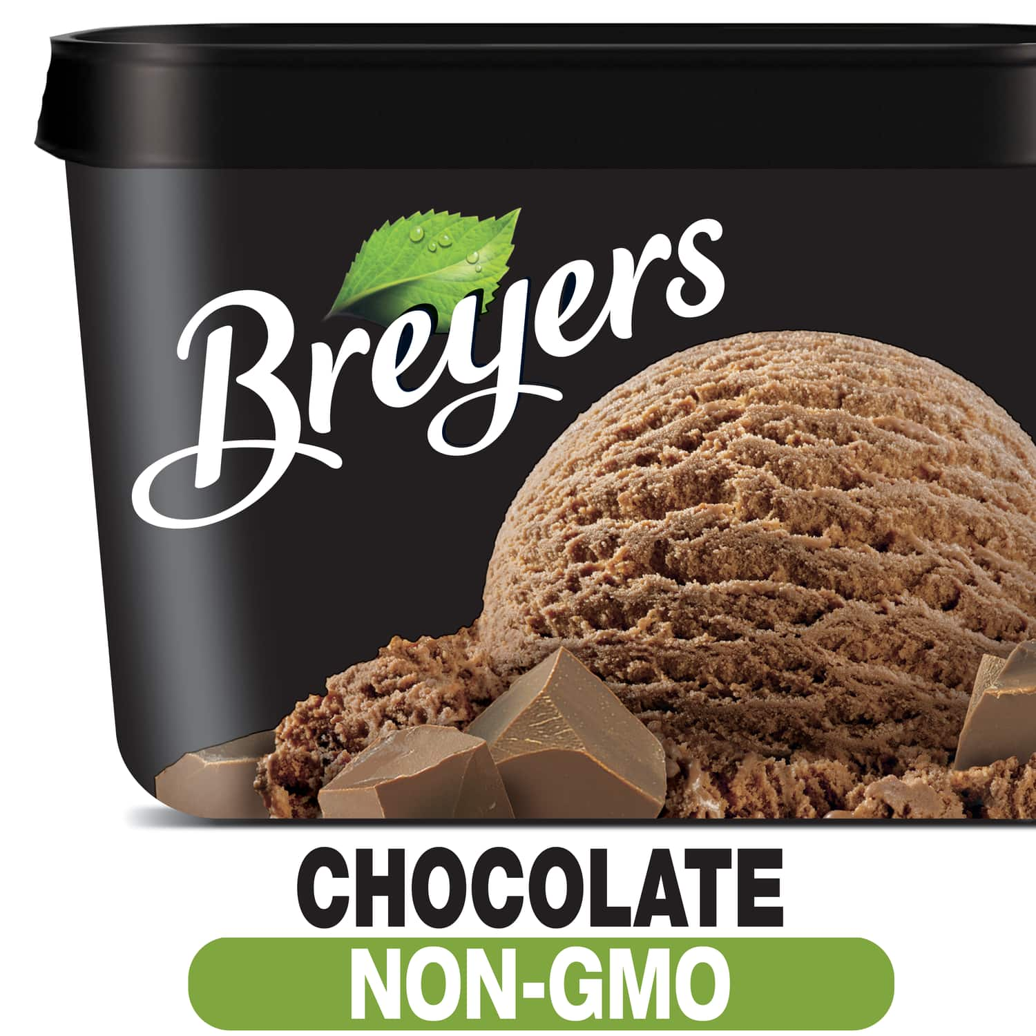 A 48 ounce tub of Breyers Chocolate simple pack image