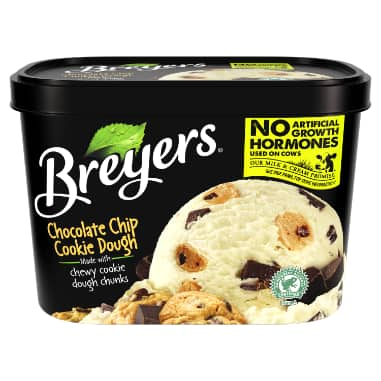 [A 48 ounce tub of Breyers Chocolate Chip Cookie Dough front of pack, A 48 ounce tub of Breyers Chocolate Chip Cookie Dough simple pack image, A 48 ounce tub of Breyers Chocolate Chip Cookie Dough Nutritional Panel, A 48 ounce tub of Breyers Chocolate Chip Cookie Dough Ingredient List, Gluten Free Logo, Kosher Certified Dairy logo, No Artificial Growth Hormones used on our cows logo, Breyers pledge statement]