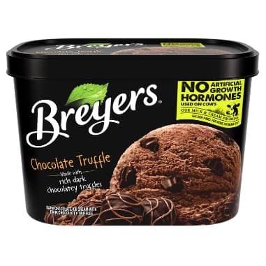 [A 48 ounce tub of Breyers Chocolate Truffle front of pack, A 48 ounce tub of Breyers Chocolate Truffle simple pack image, A 48 ounce tub of Breyers Chocolate Truffle Nutritional Panel, A 48 ounce tub of Breyers Chocolate Truffle ingredient list, Kosher Certified Dairy logo, No Artificial Growth Hormones used on our cows logo, Breyers pledge statement, 100% Grade A Milk and Cream button]