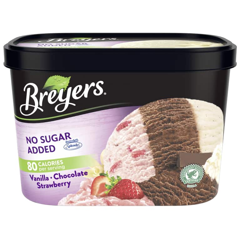 A 48 ounce tub of Breyers No Sugar Added Vanilla Chocolate Strawberry front of pack