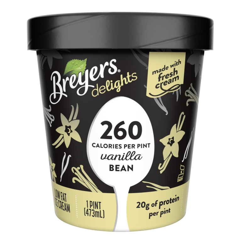 A 16 ounce tub of Breyers Delights Vanilla Bean simple pack image