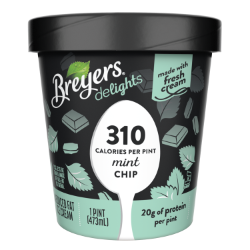 [A 16 ounce tub of Breyers® Delights Mint Chip front of pack, A 16 ounce tub of Breyers® Delights Mint Chip simple pack image, A 16 ounce tub of Breyers® Delights Mint Chip back of pack, A 16 ounce tub of Breyers® Delights Mint Chip Nutritional Panel, A 16 ounce tub of Breyers® Delights Mint Chip ingredient list, Kosher Certified Dairy logo, 100% Grade A Milk and Cream button, Breyers® pledge statement]