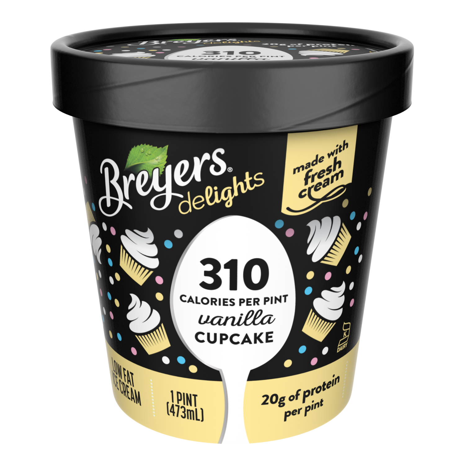 A 16 Ounce Tub Of Breyers Delights Vanilla Cupcake Front Pack