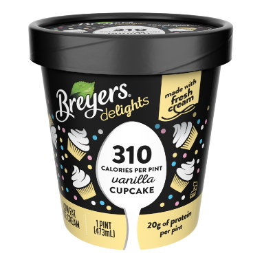 [A 16 ounce tub of Breyers Delights Vanilla Cupcake front of pack, A 16 ounce tub of Breyers Delights Vanilla Cupcake simple pack image, A 16 ounce tub of Breyers Delights Vanilla Cupcake Nutritional Panel, A 16 ounce tub of Breyers Delights Vanilla Cupcake ingredient list, A 16 ounce tub of Breyers Delights Vanilla Cupcake back of pack, A 16 ounce tub of Breyers Delights Vanilla Cupcake front of pack, Made with Fresh Cream, Four Packs of Breyers Delights]
