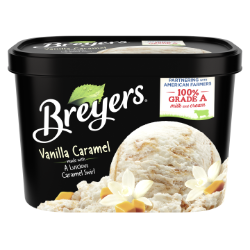 [A 48 ounce tub of Breyers® Vanilla Caramel front of pack, A 48 ounce tub of Breyers® Vanilla Caramel simple pack image, A 48 ounce tub of Breyers® Vanilla Caramel Nutritional Panel, A 48 ounce tub of Breyers® Vanilla Caramel ingredient list, A 48 ounce tub of Breyers® Vanilla Caramel barcode, A 48 ounce tub of Breyers® Vanilla Caramel Front of Pack, 100% Grade A Milk and Cream button, Gluten Free Logo]