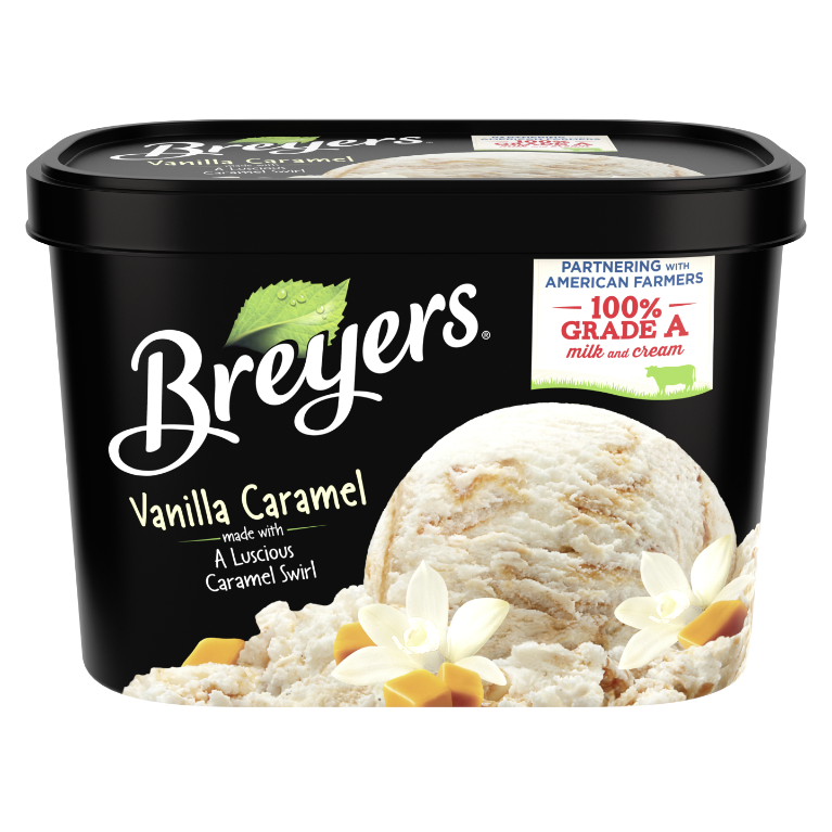 A 48 ounce tub of Breyers® Vanilla Caramel front of pack