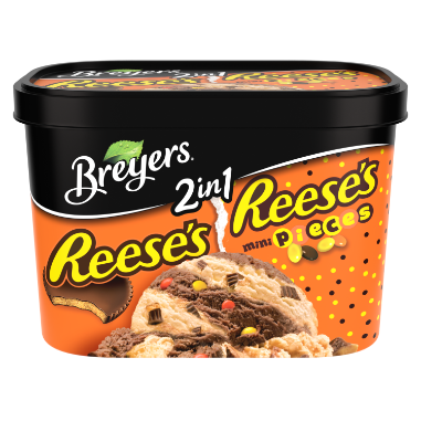 [A 48 ounce tub of Breyers Reese's & Reese's Pieces 2in1 front of pack, A 48 ounce tub of Breyers Reese's & Reese's Pieces 2in1 simple pack image, A 48 ounce tub of Breyers Reese's & Reese's Pieces 2in1 Nutritional Panel, A 48 ounce tub of Breyers Reese's & Reese's Pieces 2in1 ingredient list, A 48 ounce tub of Breyers Reese's & Reese's Pieces 2in1 barcode, A 48 ounce tub of Breyers Reese's & Reese's Pieces 2in1 front of pack, 100% Grade A Milk and Cream button, Breyers pledge statement]
