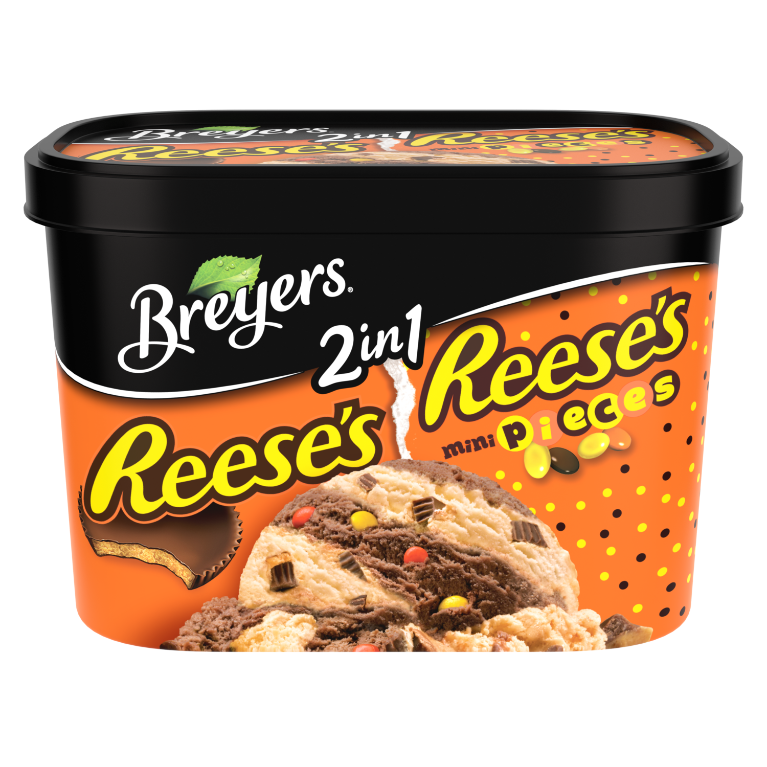 A 48 ounce tub of Breyers® Reese's & Reese's Pieces 2in1 front of pack